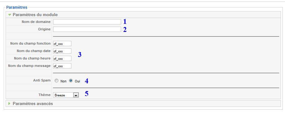 comment remplir les paramètres du module webform vtiger